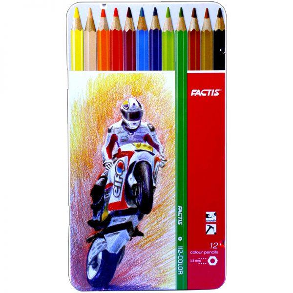 مداد رنگی 12 رنگ فکتیس با جعبه فلزی