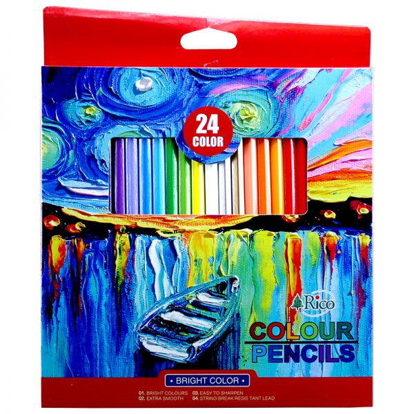 مداد رنگی 24 رنگ جعبه مقوایی ریکو