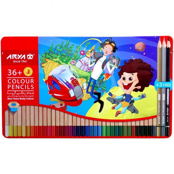 مداد رنگی 36 رنگ جعبه فلزی آریا مدل 3023