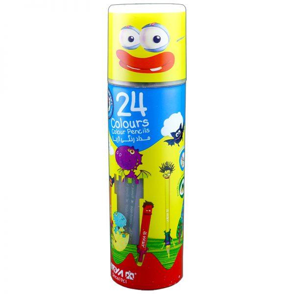 مداد رنگی 24 رنگ استوانه ای آریا مدل 3052