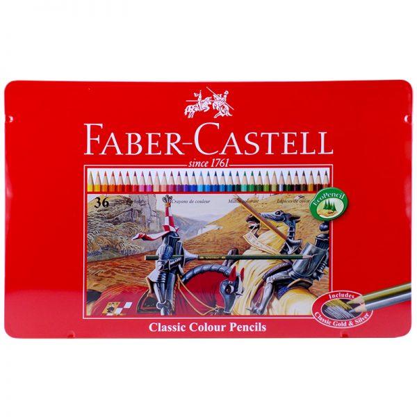 مداد رنگی 36 رنگ جعبه فلزی فابرکاستل کد 115846