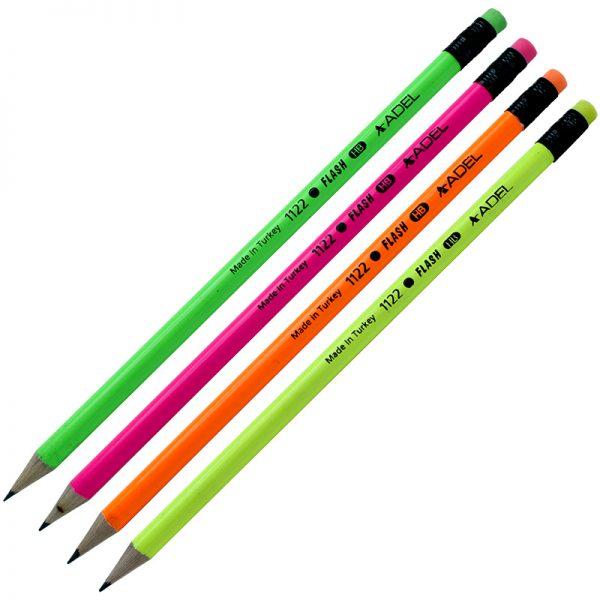 مداد مشکی HB بدنه فسفری پاک کن دار آدل