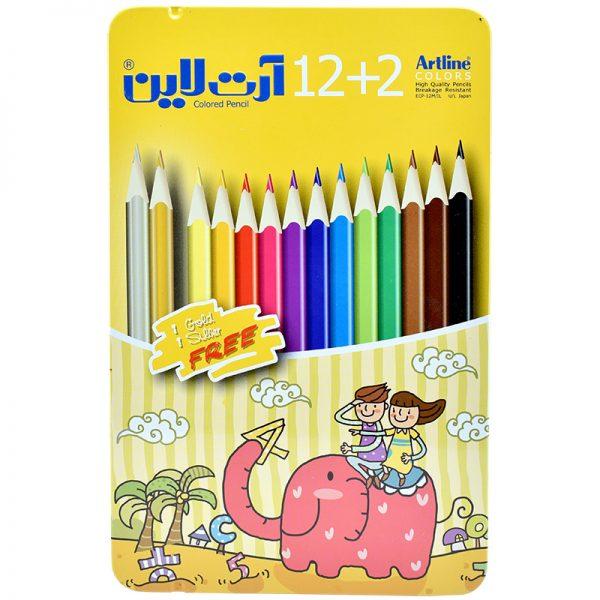 مداد رنگی 12 رنگ جعبه فلزی آرت لاین کد ECP-12m/IL