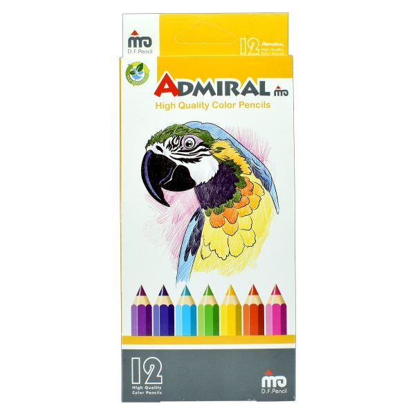 مداد رنگی 12 رنگ جعبه مقوایی ادمیرال