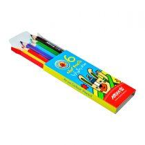 مداد رنگی 6 رنگ کوتاه جعبه مقوایی آریا کد 3071
