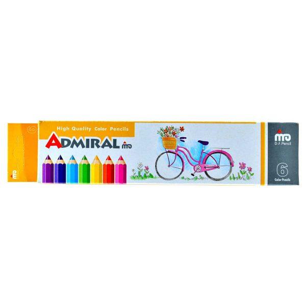 مداد رنگی 6 رنگ جعبه مقوایی ادمیرال