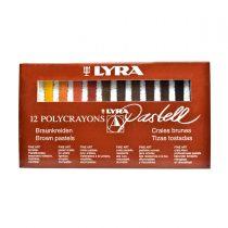 پاستل گچی 12 رنگ لیرا طیف قهوه ای